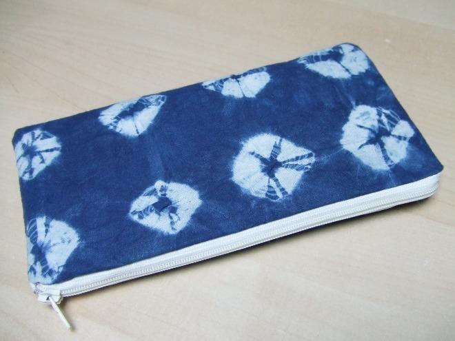 Shibori zip pouch