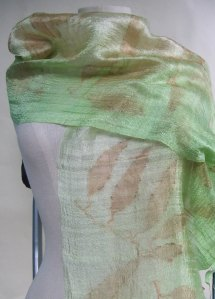 silk scarf ecoprinted with eucalyptus