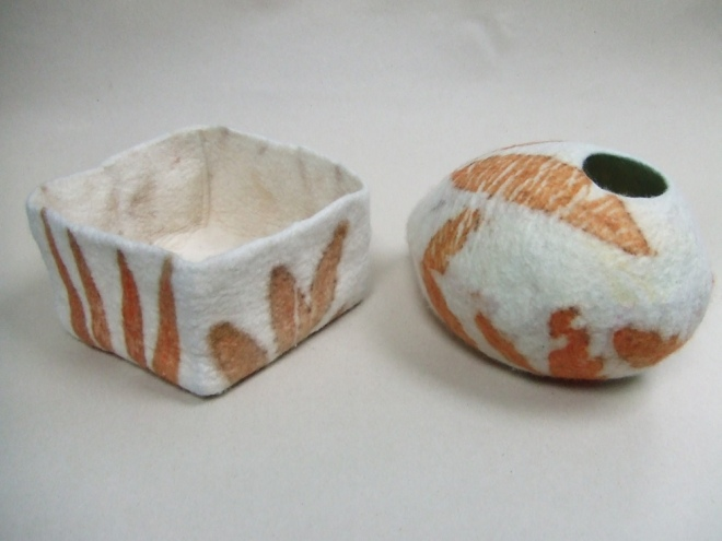 felt vessels ecoprinted with eucalyptus