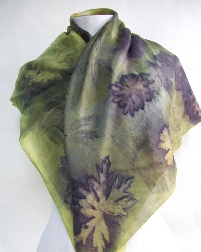 ecoprint geranium scarf