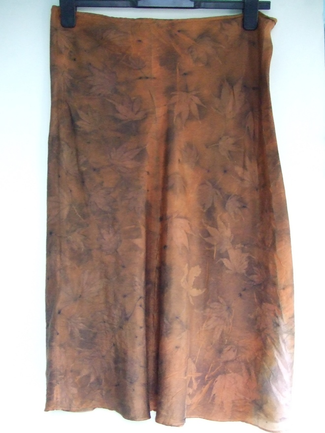 ecoprint maple skirt orange